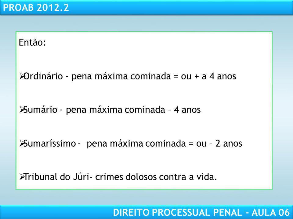 RESPONSABILIDADE CIVIL AULA 1 PROAB 2012.2 DIREITO PROCESSUAL PENAL – AULA 06 Arquivamento cabe RESE (art 581 I) Oferecimento da denúncia ou queixa-crime (art.