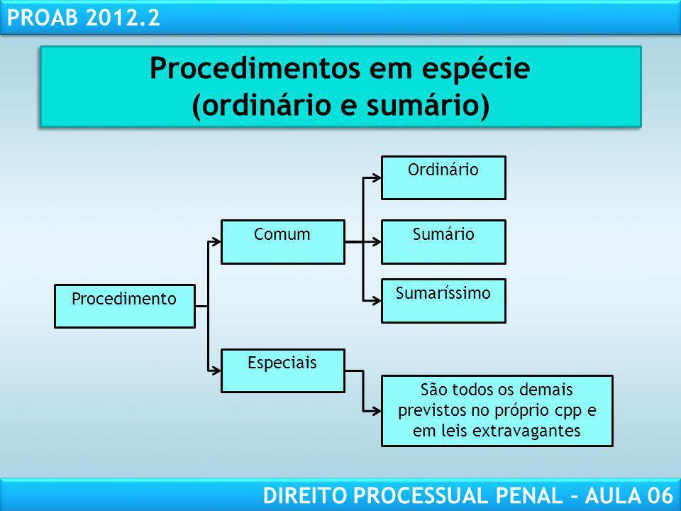 RESPONSABILIDADE CIVIL AULA 1 PROAB 2012.2 DIREITO PROCESSUAL PENAL – AULA 06 PROCEDIMENTO ORDINÁRIO
