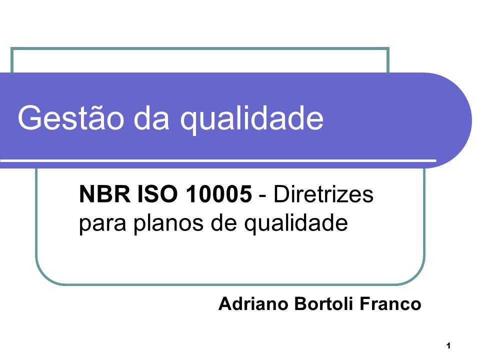 1 Gestão da qualidade NBR ISO 10005 - Diretrizes para planos de qualidade MBR ISO 10005 Adriano Bortoli Franco
