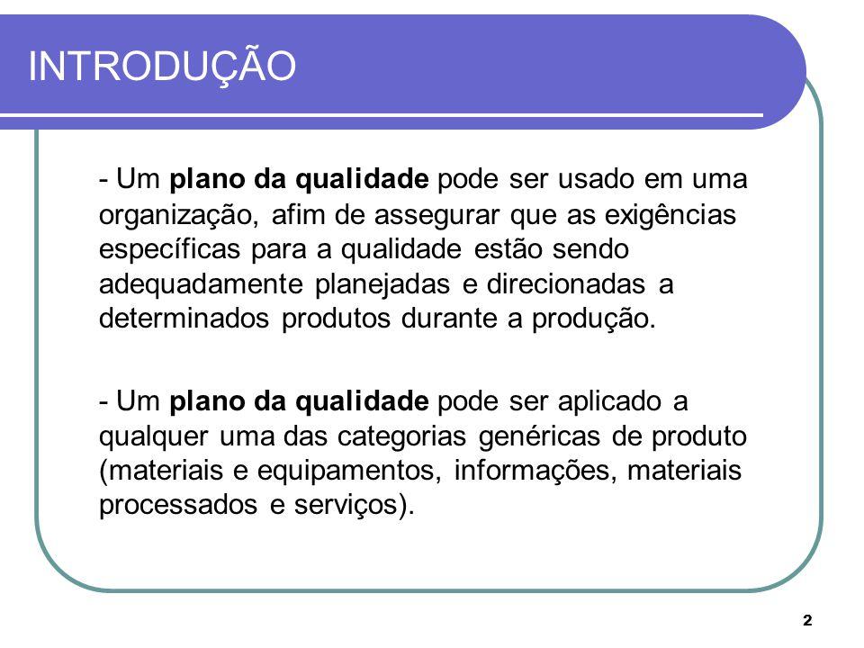 2 INTRODUÇÃO - Um plano da qualidade pode ser usado em uma organização, afim de assegurar que as exigências específicas para a qualidade estão sendo adequadamente planejadas e direcionadas a determinados produtos durante a produção.
