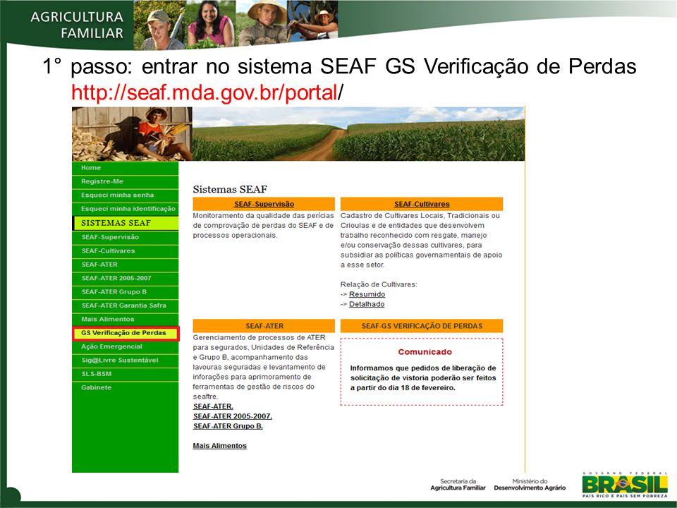 1° passo: entrar no sistema SEAF GS Verificação de Perdas http://seaf.mda.gov.br/portal/