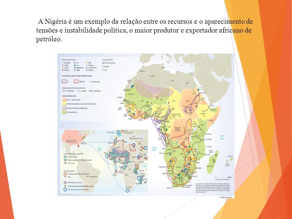 A Nigéria é um exemplo da relação entre os recursos e o aparecimento de tensões e instabilidade política, o maior produtor e exportador africano de pe