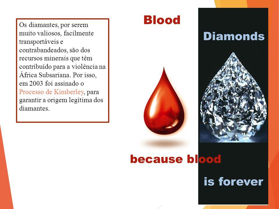 Os diamantes, por serem muito valiosos, facilmente transportáveis e contrabandeados, são dos recursos minerais que têm contribuído para a violência na