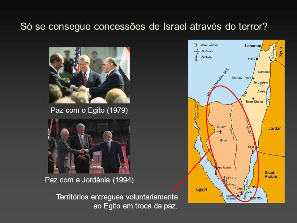 Só se consegue concessões de Israel através do terror? Territórios entregues voluntariamente ao Egito em troca da paz. Paz com o Egito (1979) Paz com