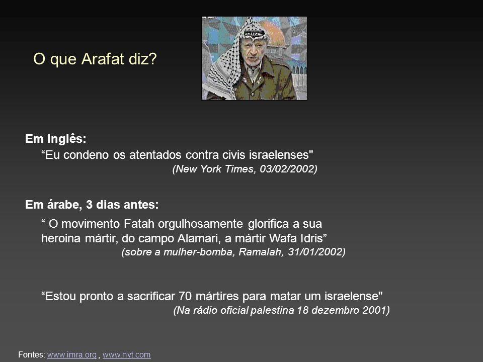O que Arafat diz? Em árabe, 3 dias antes: Em inglês: Fontes: www.imra.org, www.nyt.comwww.imra.orgwww.nyt.com Estou pronto a sacrificar 70 mártires pa