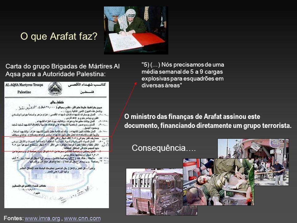 Fontes: www.imra.org, www.cnn.comwww.imra.orgwww.cnn.com O que Arafat faz? Carta do grupo Brigadas de Mártires Al Aqsa para a Autoridade Palestina: