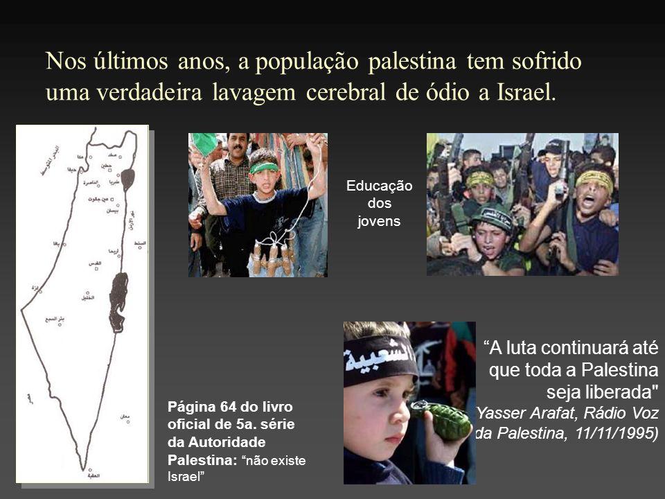 Nos últimos anos, a população palestina tem sofrido uma verdadeira lavagem cerebral de ódio a Israel. Página 64 do livro oficial de 5a. série da Autor