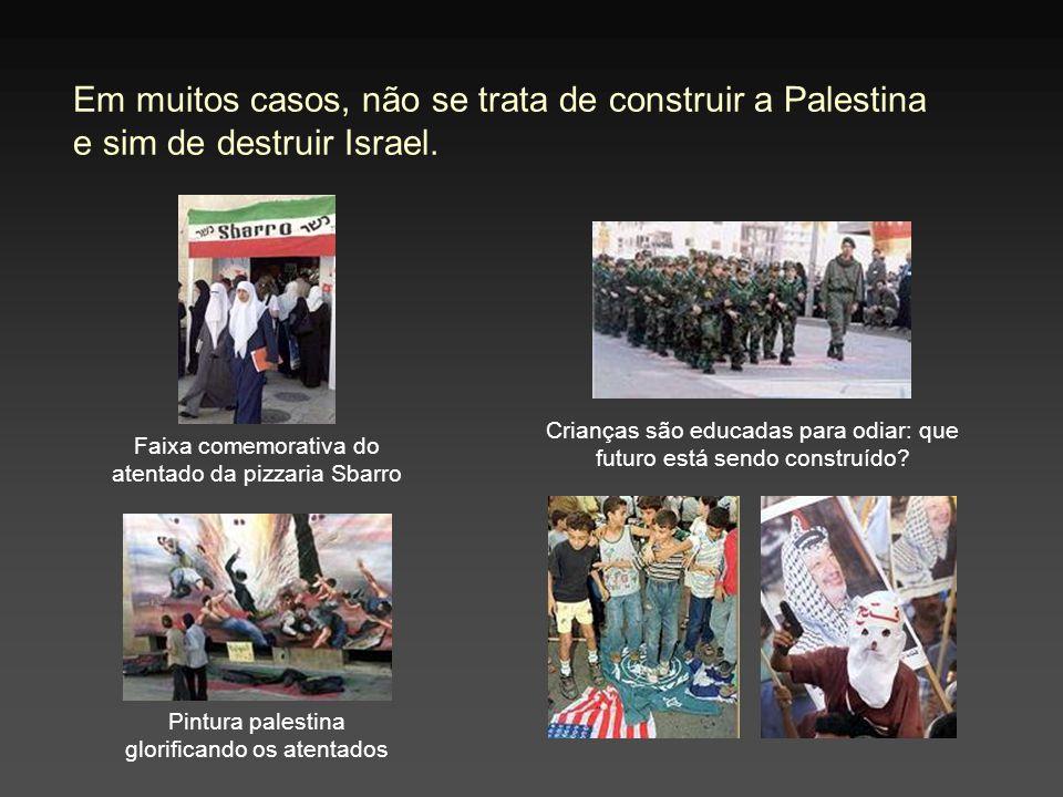 Em muitos casos, não se trata de construir a Palestina e sim de destruir Israel. Faixa comemorativa do atentado da pizzaria Sbarro Pintura palestina g
