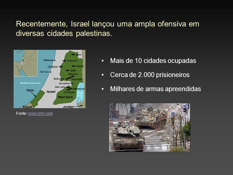 Recentemente, Israel lançou uma ampla ofensiva em diversas cidades palestinas. Mais de 10 cidades ocupadas Cerca de 2.000 prisioneiros Milhares de arm