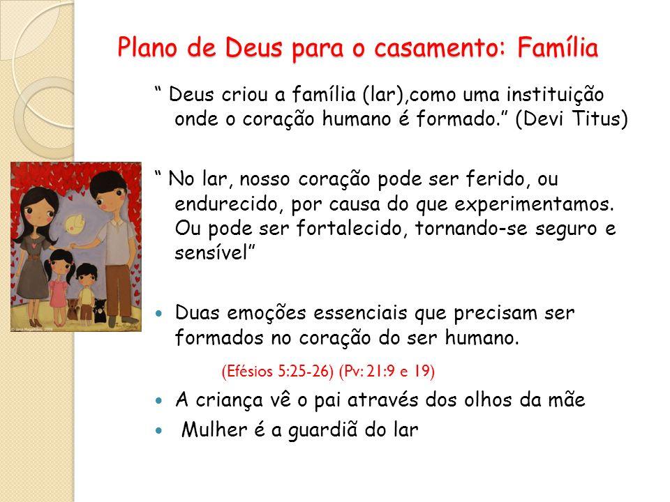 Plano de Deus para o casamento: Família Plano de Deus para o casamento: Família Deus criou a família (lar),como uma instituição onde o coração humano