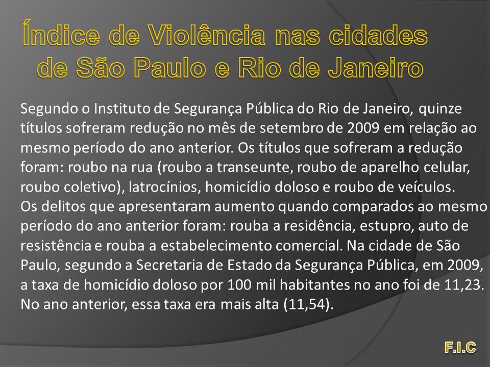 Segundo o Instituto de Segurança Pública do Rio de Janeiro, quinze títulos sofreram redução no mês de setembro de 2009 em relação ao mesmo período do