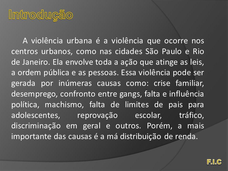 A violência urbana é a violência que ocorre nos centros urbanos, como nas cidades São Paulo e Rio de Janeiro. Ela envolve toda a ação que atinge as le