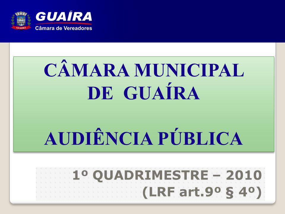 CÂMARA MUNICIPAL DE GUAÍRA AUDIÊNCIA PÚBLICA CÂMARA MUNICIPAL DE GUAÍRA AUDIÊNCIA PÚBLICA 1º QUADRIMESTRE – 2010 (LRF art.9º § 4º)