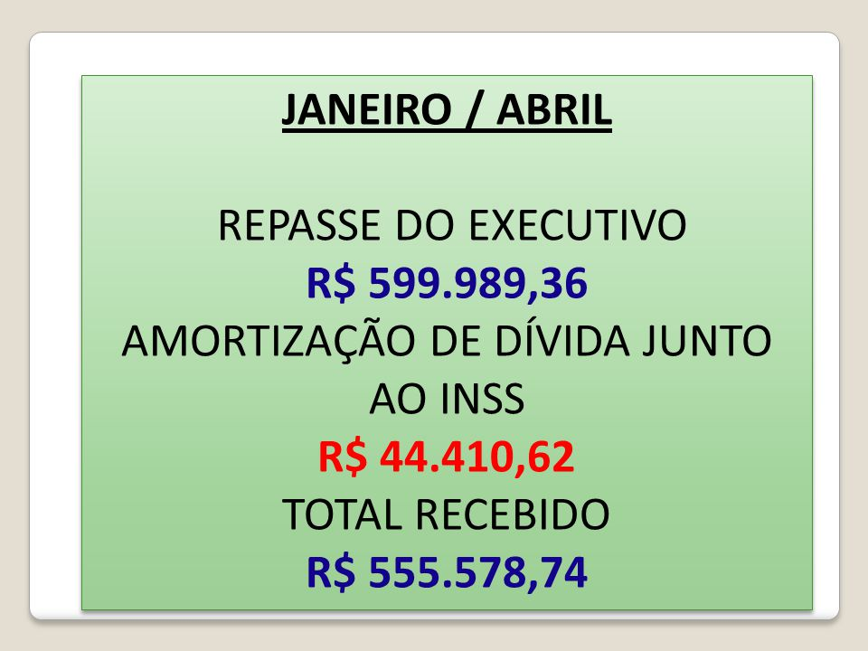 JANEIRO / ABRIL REPASSE DO EXECUTIVO R$ 599.989,36 AMORTIZAÇÃO DE DÍVIDA JUNTO AO INSS R$ 44.410,62 TOTAL RECEBIDO R$ 555.578,74 JANEIRO / ABRIL REPAS