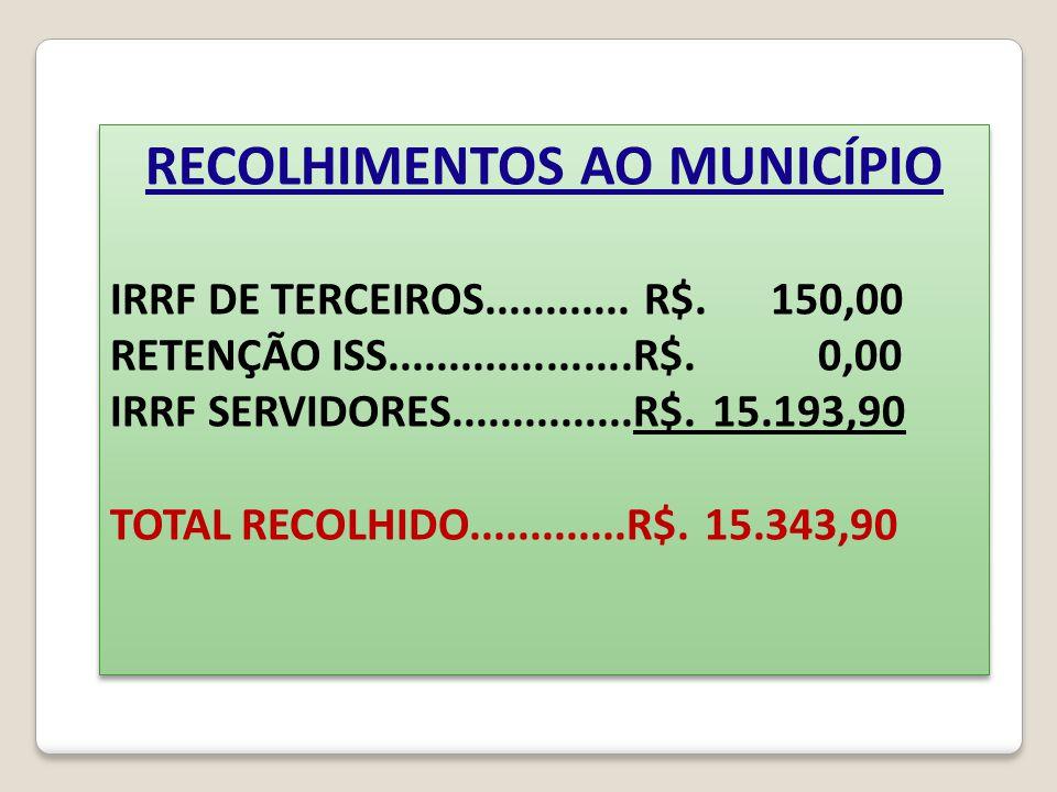 RECOLHIMENTOS AO MUNICÍPIO IRRF DE TERCEIROS............ R$. 150,00 RETENÇÃO ISS....................R$. 0,00 IRRF SERVIDORES...............R$. 15.193,