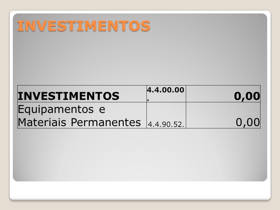 INVESTIMENTOS INVESTIMENTOS 4.4.00.00. 0,00 Equipamentos e Materiais Permanentes 4.4.90.52. 0,00