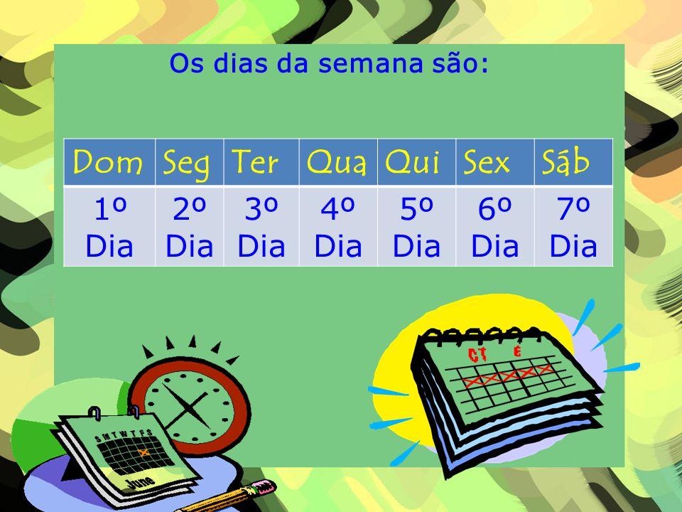 Os dias da semana são: DomSegTerQuaQuiSexSáb 1º Dia 2º Dia 3º Dia 4º Dia 5º Dia 6º Dia 7º Dia