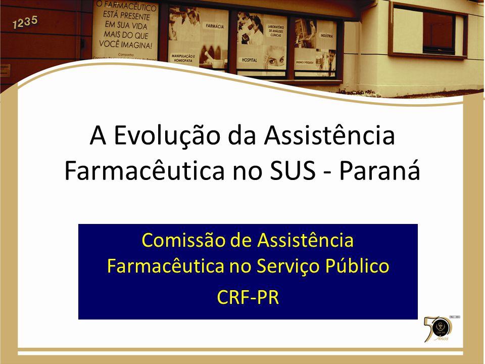 Rede pública de farmácias no PR No SUS-PR há 509 farmácias/CAF de serviço público com farmacêutico em 392 dos 399_ municípios no Paraná registradas no CRF-PR.* Em dezembro de 1999 eram 62!.