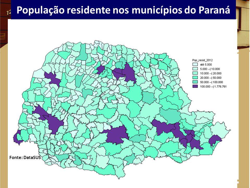 População residente nos municípios do Paraná Fonte: DataSUS