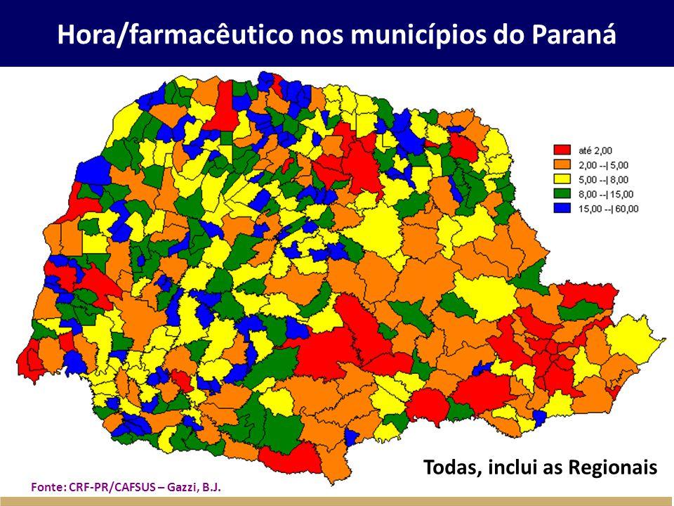 Hora/farmacêutico nos municípios do Paraná Todas, inclui as Regionais Fonte: CRF-PR/CAFSUS – Gazzi, B.J.