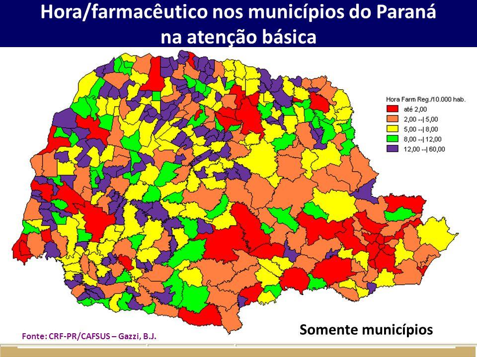 Hora/farmacêutico nos municípios do Paraná na atenção básica Somente municípios Fonte: CRF-PR/CAFSUS – Gazzi, B.J.