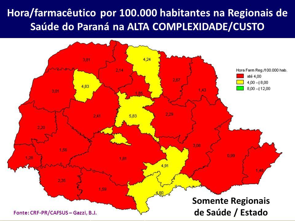 Hora/farmacêutico por 100.000 habitantes na Regionais de Saúde do Paraná na ALTA COMPLEXIDADE/CUSTO Somente Regionais de Saúde / Estado Fonte: CRF-PR/