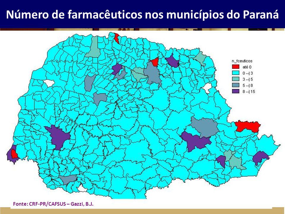 Número de farmacêuticos nos municípios do Paraná Fonte: CRF-PR/CAFSUS – Gazzi, B.J.