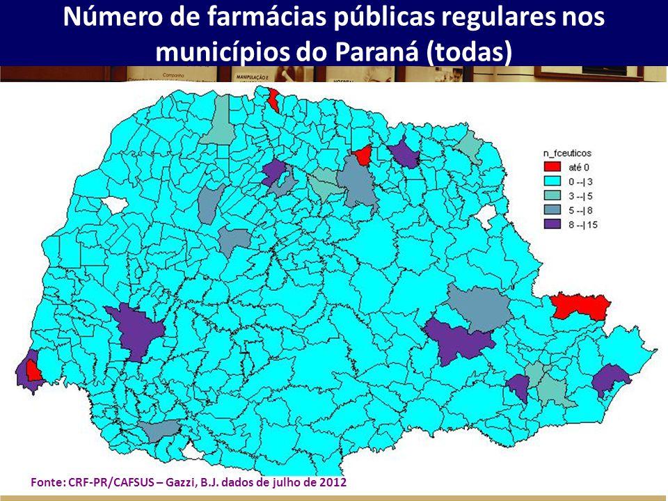 Número de farmácias públicas regulares nos municípios do Paraná (todas) Fonte: CRF-PR/CAFSUS – Gazzi, B.J. dados de julho de 2012