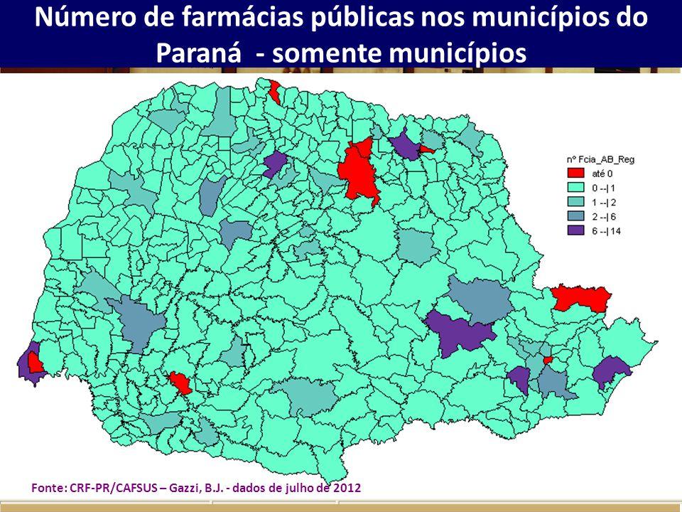 Número de farmácias públicas nos municípios do Paraná - somente municípios Fonte: CRF-PR/CAFSUS – Gazzi, B.J. - dados de julho de 2012