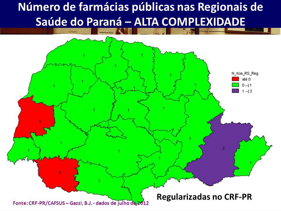 Número de farmácias públicas nas Regionais de Saúde do Paraná – ALTA COMPLEXIDADE Regularizadas no CRF-PR Fonte: CRF-PR/CAFSUS – Gazzi, B.J. - dados d