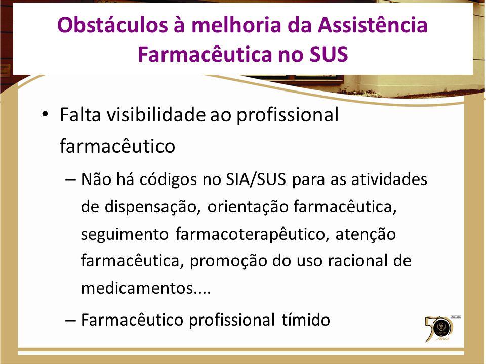 Falta visibilidade ao profissional farmacêutico – Não há códigos no SIA/SUS para as atividades de dispensação, orientação farmacêutica, seguimento far