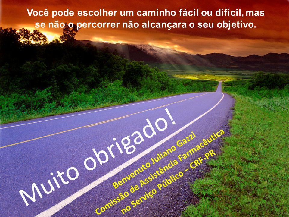 Muito obrigado! Você pode escolher um caminho fácil ou difícil, mas se não o percorrer não alcançara o seu objetivo. Benvenuto Juliano Gazzi Comissão