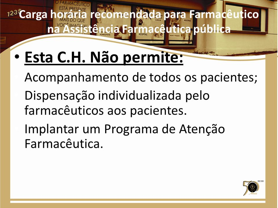 Carga horária recomendada para Farmacêutico na Assistência Farmacêutica pública Esta C.H. Não permite: Acompanhamento de todos os pacientes; Dispensaç