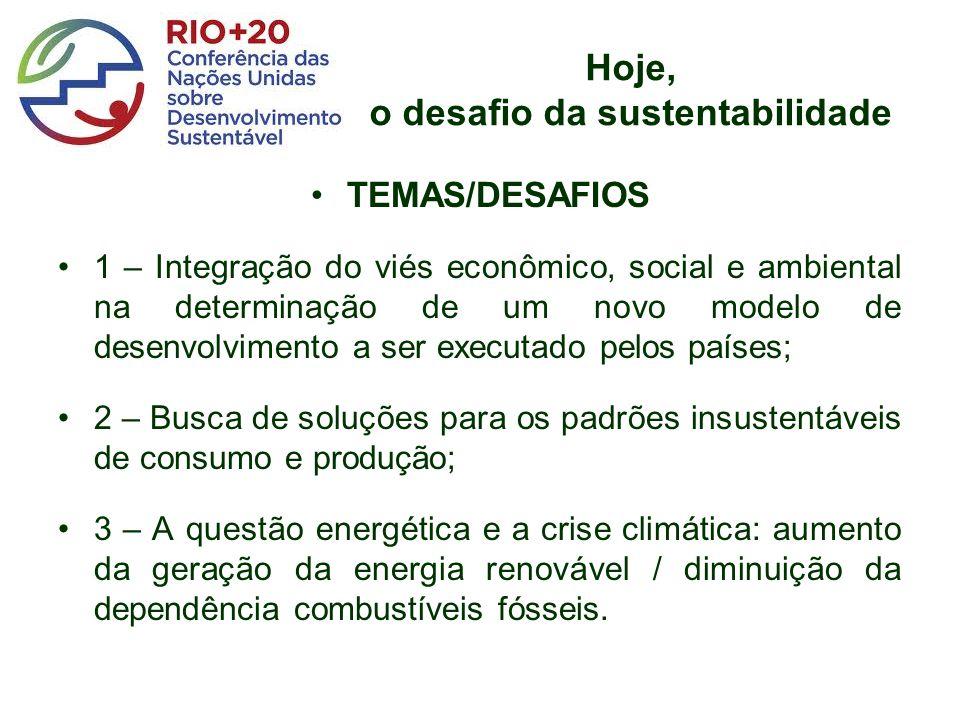 Hoje, o desafio da sustentabilidade TEMAS/DESAFIOS 1 – Integração do viés econômico, social e ambiental na determinação de um novo modelo de desenvolv