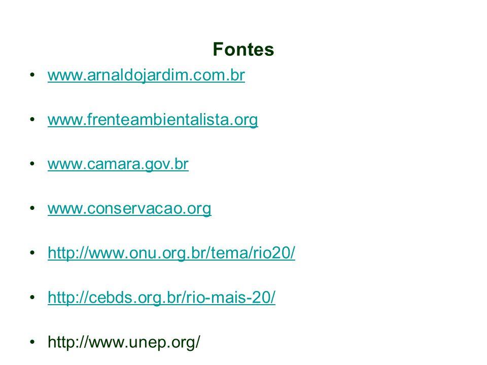 Fontes www.arnaldojardim.com.br www.frenteambientalista.org www.camara.gov.br www.conservacao.org http://www.onu.org.br/tema/rio20/ http://cebds.org.b