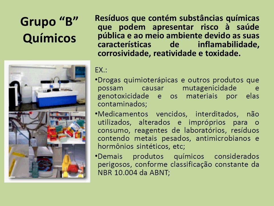 Grupo B Químicos Resíduos que contém substâncias químicas que podem apresentar risco à saúde pública e ao meio ambiente devido as suas características