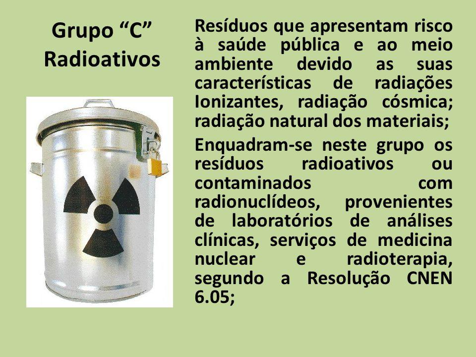 Grupo C Radioativos Resíduos que apresentam risco à saúde pública e ao meio ambiente devido as suas características de radiações Ionizantes, radiação