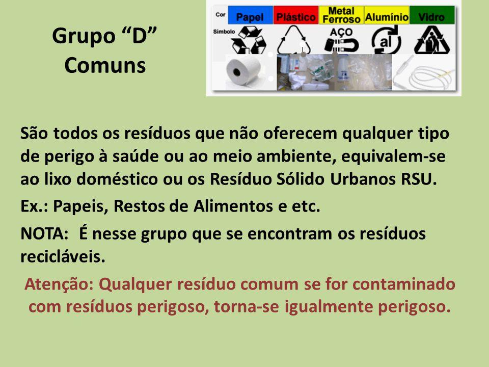 Grupo D Comuns São todos os resíduos que não oferecem qualquer tipo de perigo à saúde ou ao meio ambiente, equivalem-se ao lixo doméstico ou os Resídu