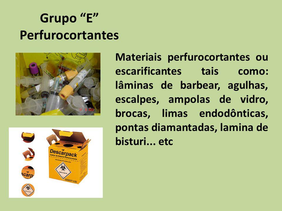 Grupo E Perfurocortantes Materiais perfurocortantes ou escarificantes tais como: lâminas de barbear, agulhas, escalpes, ampolas de vidro, brocas, lima