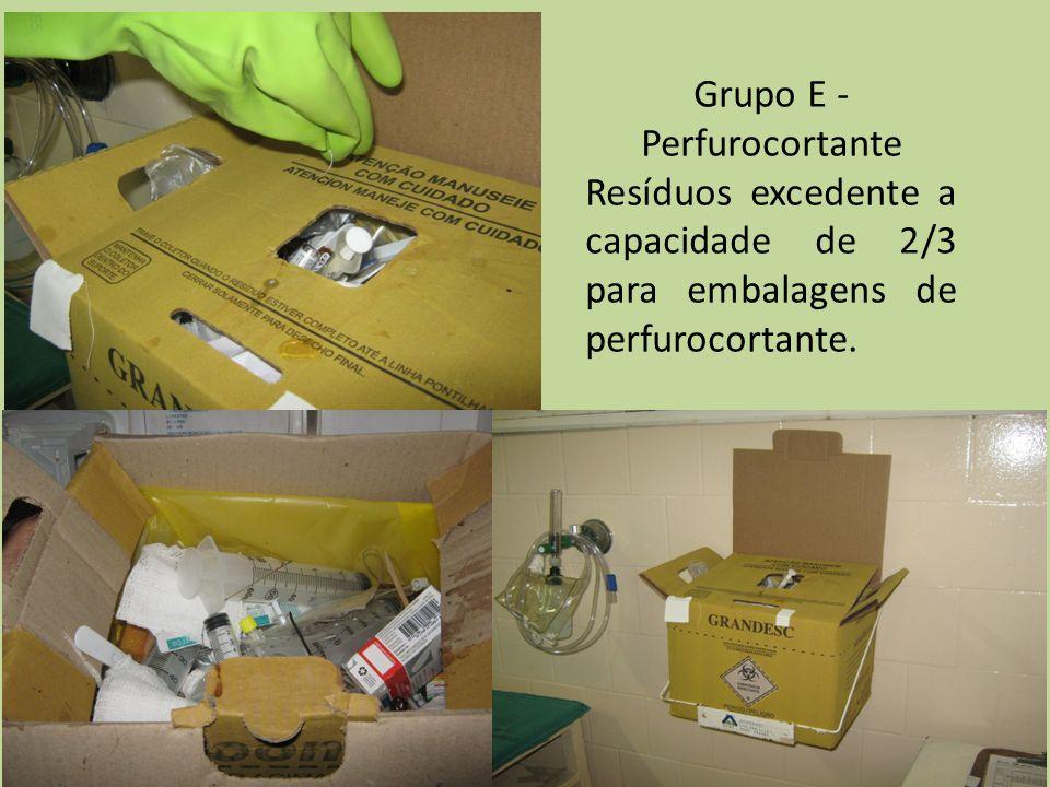 Grupo E - Perfurocortante Resíduos excedente a capacidade de 2/3 para embalagens de perfurocortante.