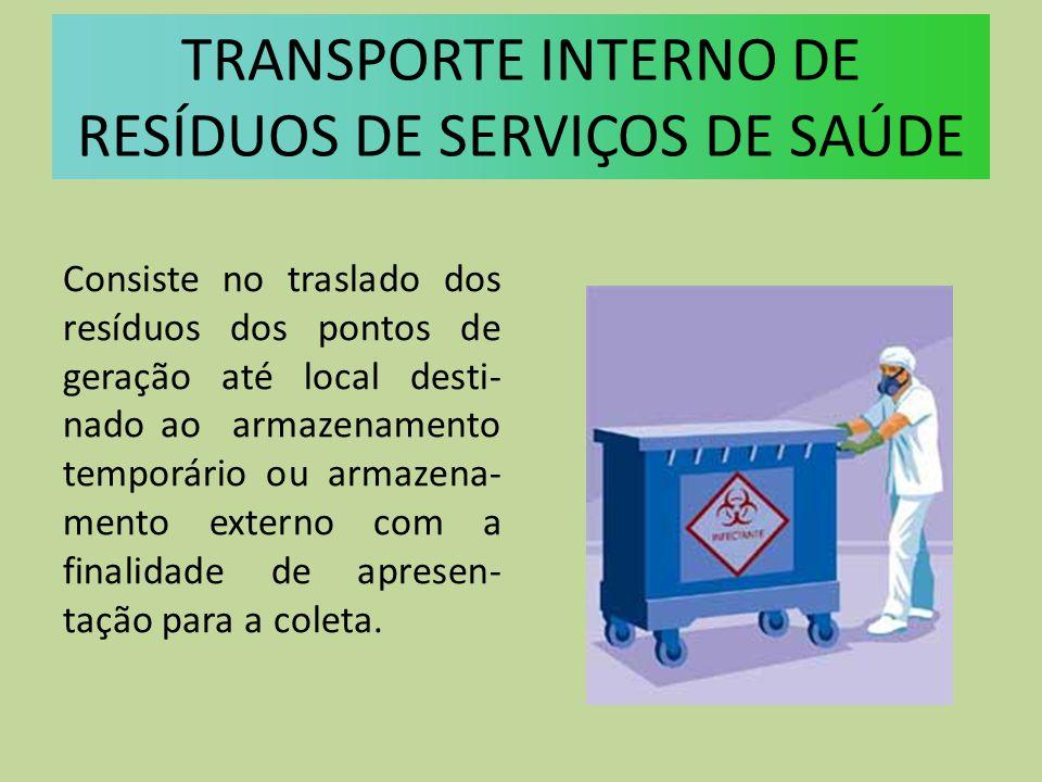 Consiste no traslado dos resíduos dos pontos de geração até local desti- nado ao armazenamento temporário ou armazena- mento externo com a finalidade