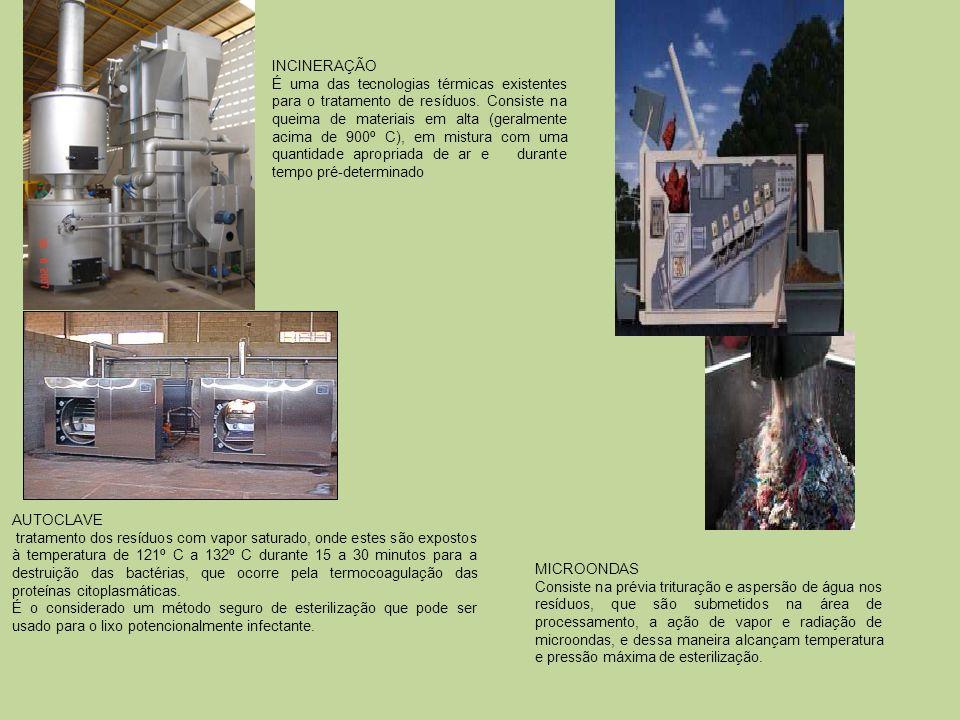 AUTOCLAVE tratamento dos resíduos com vapor saturado, onde estes são expostos à temperatura de 121º C a 132º C durante 15 a 30 minutos para a destruiç
