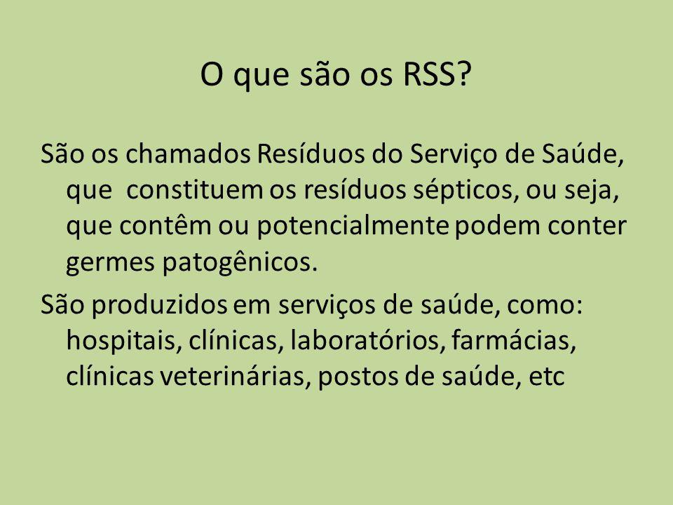 O que são os RSS? São os chamados Resíduos do Serviço de Saúde, que constituem os resíduos sépticos, ou seja, que contêm ou potencialmente podem conte
