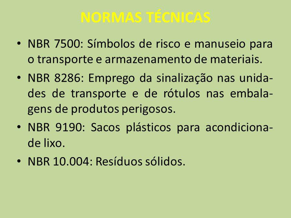NORMAS TÉCNICAS NBR 7500: Símbolos de risco e manuseio para o transporte e armazenamento de materiais. NBR 8286: Emprego da sinalização nas unida- des