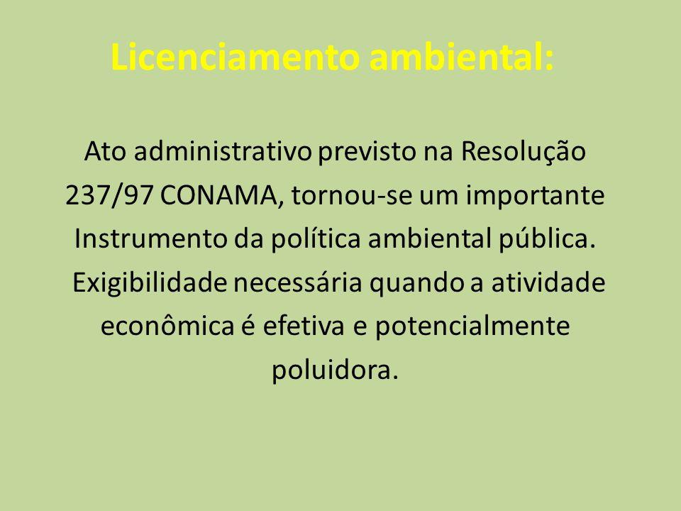 Licenciamento ambiental: Ato administrativo previsto na Resolução 237/97 CONAMA, tornou-se um importante Instrumento da política ambiental pública. Ex