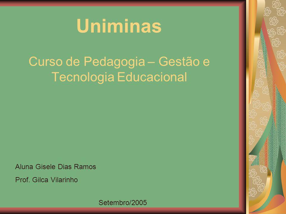Curso de Pedagogia – Gestão e Tecnologia Educacional Aluna Gisele Dias Ramos Prof. Gilca Vilarinho Setembro/2005 Uniminas