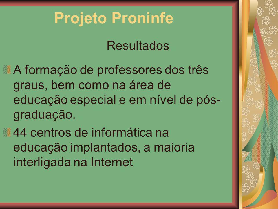 Projeto Proninfe A formação de professores dos três graus, bem como na área de educação especial e em nível de pós- graduação. 44 centros de informáti