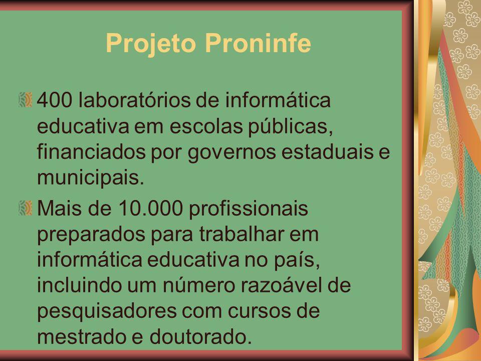 Projeto Proninfe 400 laboratórios de informática educativa em escolas públicas, financiados por governos estaduais e municipais. Mais de 10.000 profis