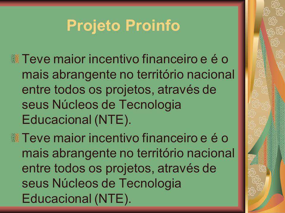 Projeto Proinfo Teve maior incentivo financeiro e é o mais abrangente no território nacional entre todos os projetos, através de seus Núcleos de Tecno