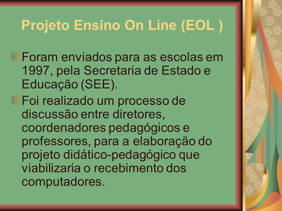Projeto Ensino On Line (EOL ) Foram enviados para as escolas em 1997, pela Secretaria de Estado e Educação (SEE). Foi realizado um processo de discuss